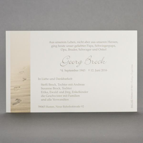 Einzelkarte mit Spuren im Sand inkl. passendem Briefumschlag