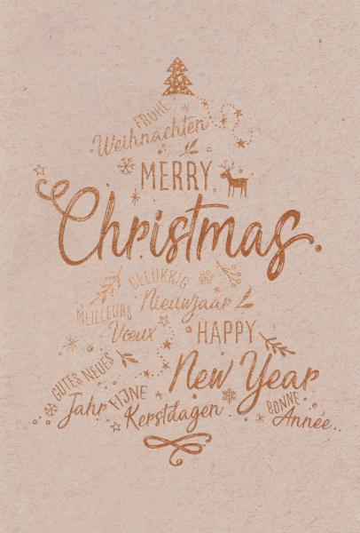 """Weihnachtskarte """"Kupfer Textbaum"""""""
