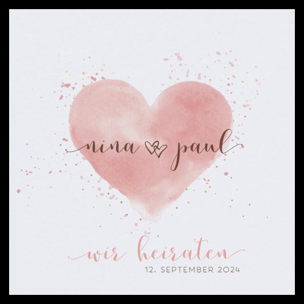 Hochzeitskarte - Aquarell Herz