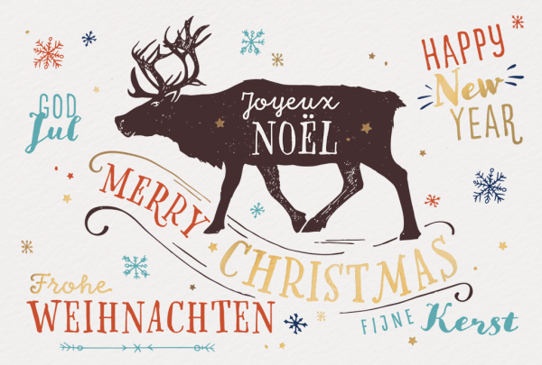 """Weihnachtskarte """"Weinlese-Weihnachtskarte mit Rentier Illustration"""""""