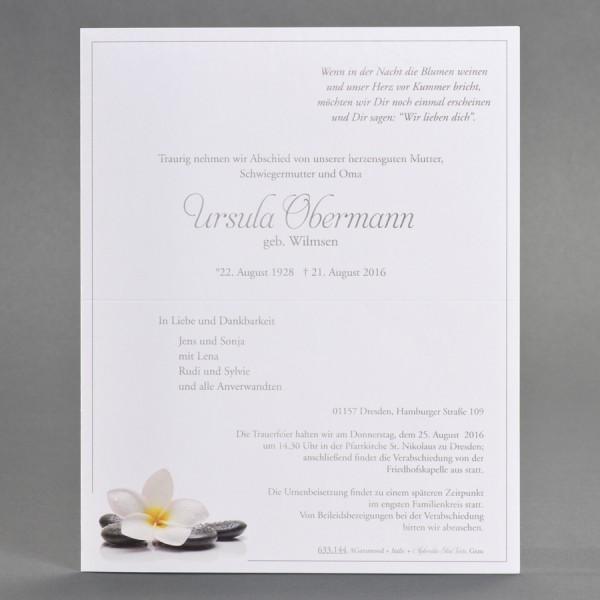 Doppelter Trauerbrief mit Orchideenblüte und Steinen inkl. passendem Briefumschlag