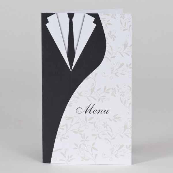 Menükarte mit Brautkleid & Anzug