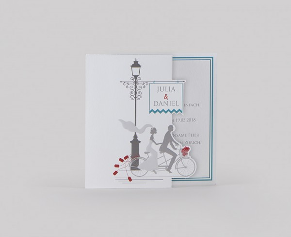 Hochzeitskarte - Tandem