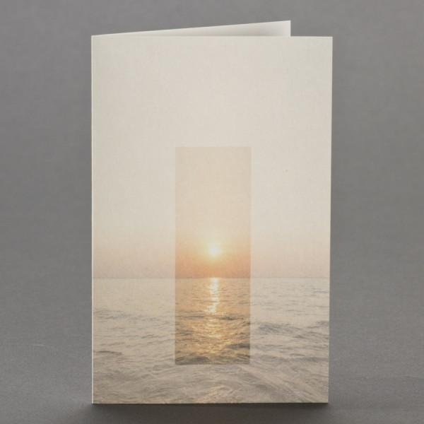Trauerbild mit Sonnenuntergang über Meereshorizont zu 1-Nutzen inkl. passendem Briefumschlag