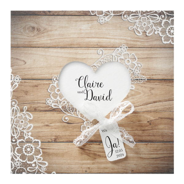 Hochzeitskarte - Holzmotiv mit Blumenmuster
