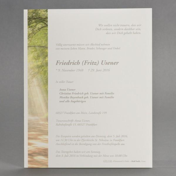 Doppelter Trauerbrief mit Waldlichtung inkl. passendem Briefumschlag