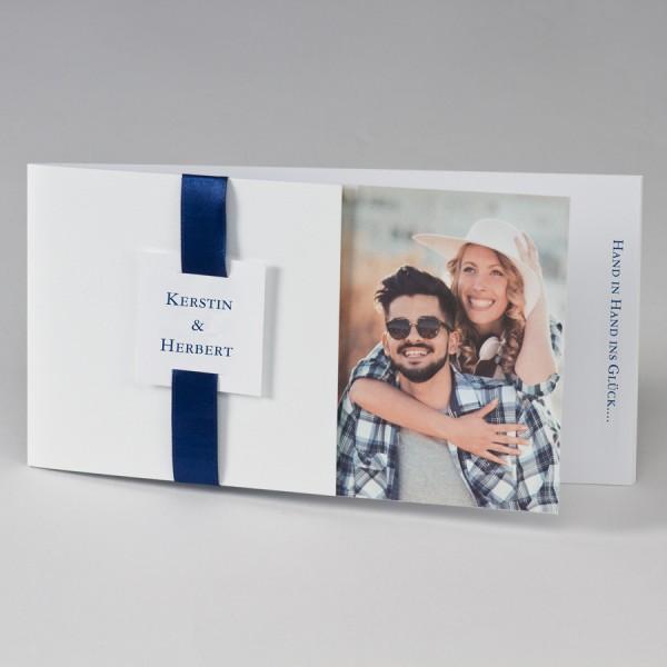 Fotohochzeitskarte mit farbigem Band