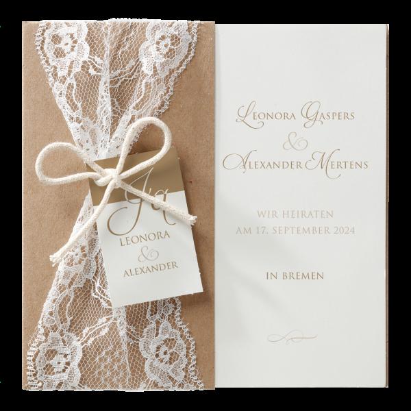 Hochzeitskarte - Kraftpapierumleger mit romantischen Spitzenband