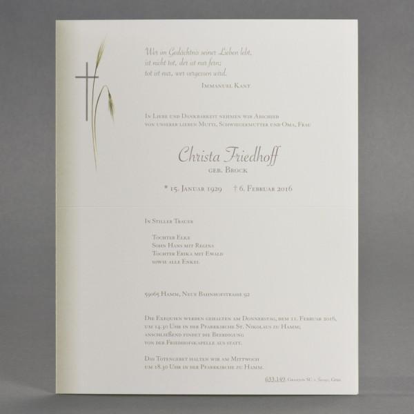 Doppelter Trauerbrief mit Schattierung, sowie Kreuz mit Ähren inkl. passendem Briefumschlag
