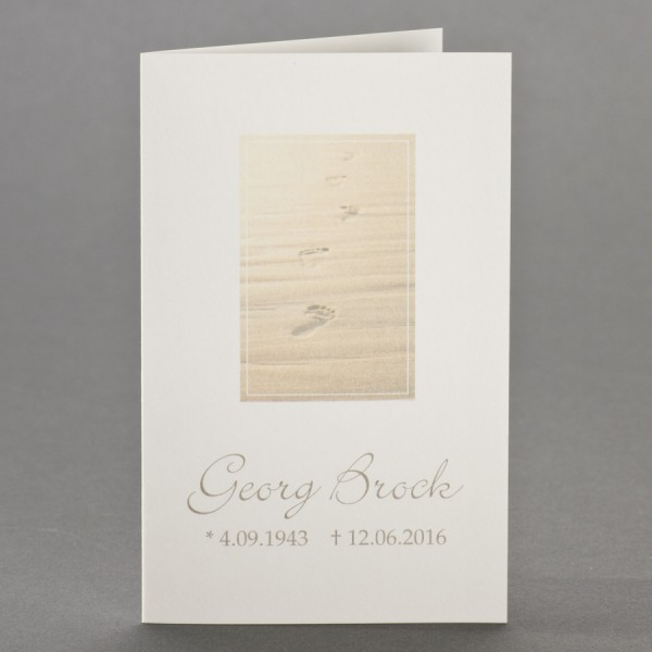 Trauerbild mit Spuren im Sand zu 1-Nutzen inkl. passendem Briefumschlag