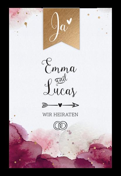 Hochzeitskarte - Bordeauxfarbene Einladung