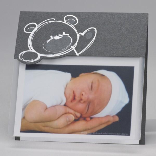 Stahlgraue Fotokarte mit Bär in Silberfolienprägung