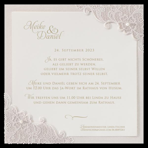 Hochzeitskarte – Romantische Spitze