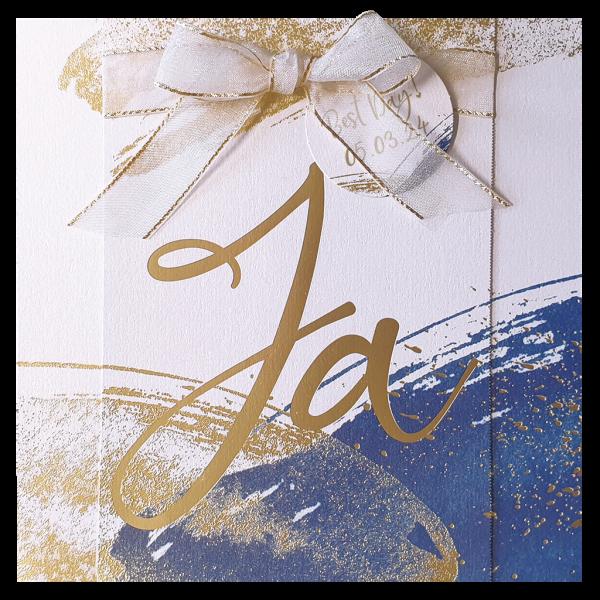 Hochzeitskarte - Aquarell Blau mit goldenen Ja