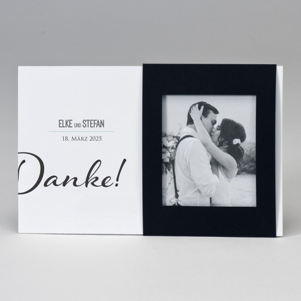 Fotodanksagungskarte mit schwarzem Passepartout