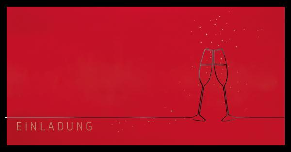 Einladung - Stilvolle Champagnergläser