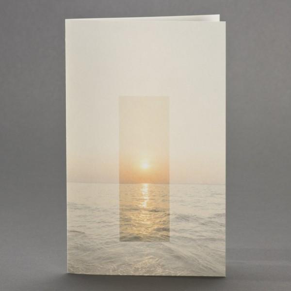 Doppelkarte mit Sonnenuntergang über Meereshorizont inkl. passendem Briefumschlag