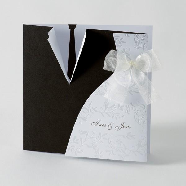 Hochzeitskarte mit Brautkleid & Anzug
