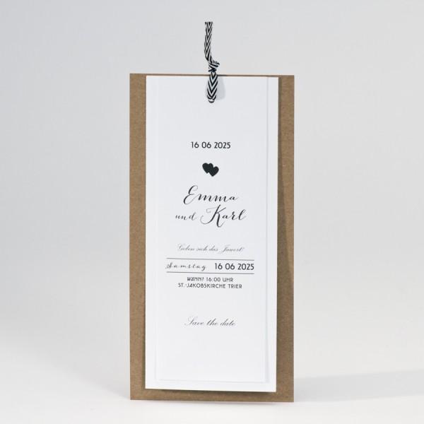 Elegante Fächerkarte zur Hochzeit aus Kraftpapier