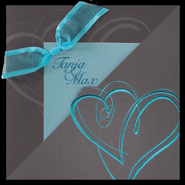 Hochzeitskarte – Türkise Herzen