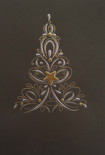 """Weihnachtskarte """"Verspielte Weihnachtsbaumsilhoutte mit goldenem Stern"""""""