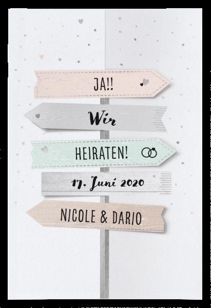 Hochzeitskarte - Wegweiser