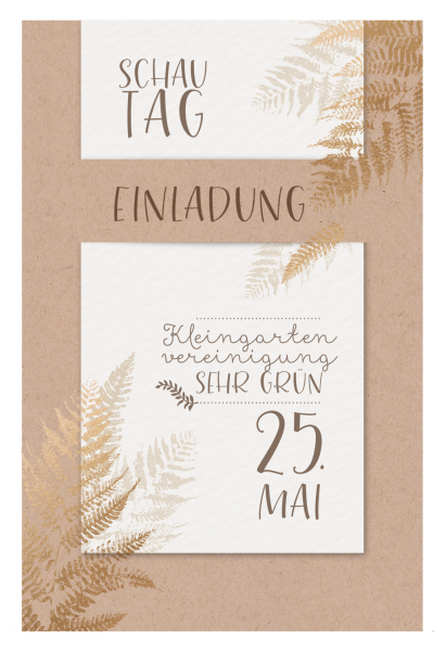 Trendy Einladungskarte auf Kraftkarton und Aquarellpapier mit Farnen in Goldfolie